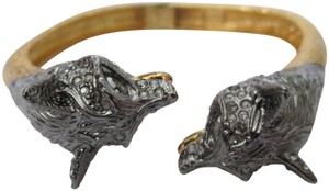 Alexis Bittar Alexis Bittar Wolf Fox Head Crystal Bypass Hinged Cuff Bangle Bracelet