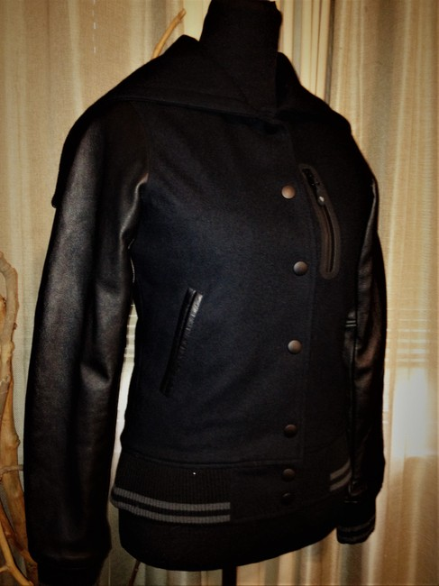 Nike Black Nsw Collection Destroyer / Wool Hooded Varsity Jacket Size 2 (XS) Nike Black Nsw Collection Destroyer / Wool Hooded Varsity Jacket Size 2 (XS) Image 2