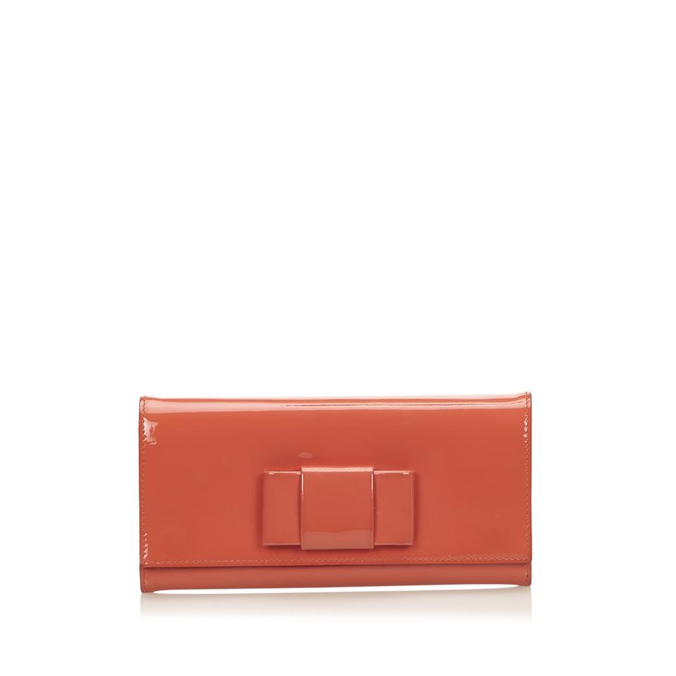 649c59c41e5d Miu Miu Orange Patent Leather Bow Wallet - Tradesy