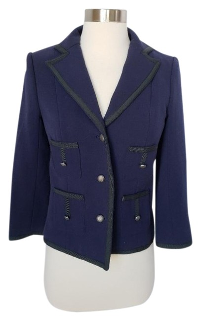 Preload https://img-static.tradesy.com/item/24416981/anthropologie-navy-and-black-piped-jacket-blazer-size-0-xs-0-1-650-650.jpg