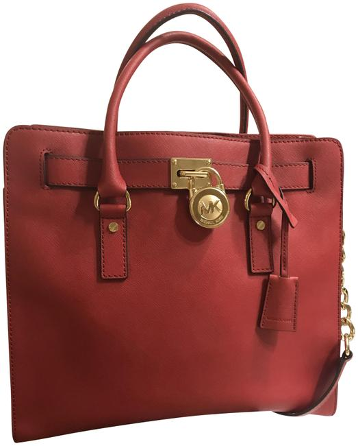 Michael Kors Hamilton North South Large Convertible Satchel Red Saffiano Leather Tote Michael Kors Hamilton North South Large Convertible Satchel Red Saffiano Leather Tote Image 1