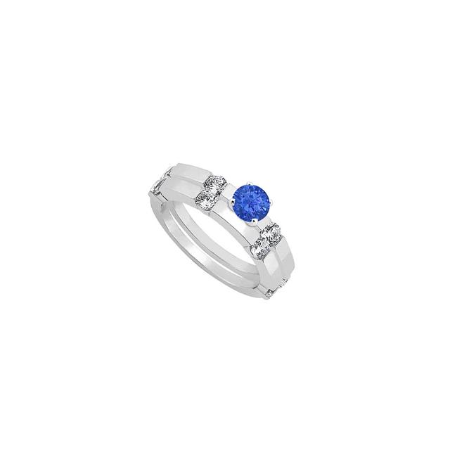 Unbranded Blue Created Sapphire and Cubic Zirconia Engagement with Wedding Band Ring Unbranded Blue Created Sapphire and Cubic Zirconia Engagement with Wedding Band Ring Image 1