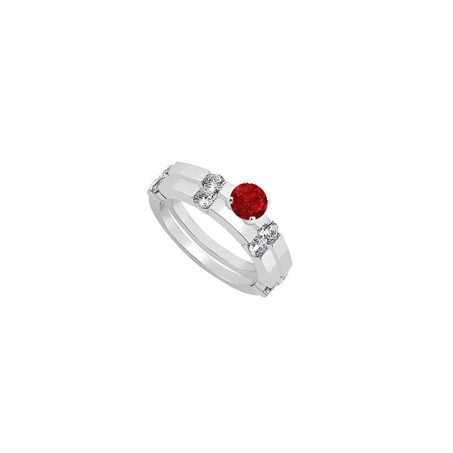 Unbranded Red Created Ruby and Cubic Zirconia Engagement with Wedding Band Set Ring Unbranded Red Created Ruby and Cubic Zirconia Engagement with Wedding Band Set Ring Image 1