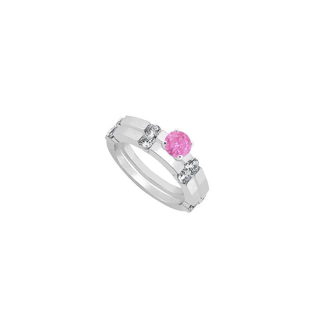 Unbranded Pink Created Sapphire and Cubic Zirconia Engagement with Wedding Ring Unbranded Pink Created Sapphire and Cubic Zirconia Engagement with Wedding Ring Image 1