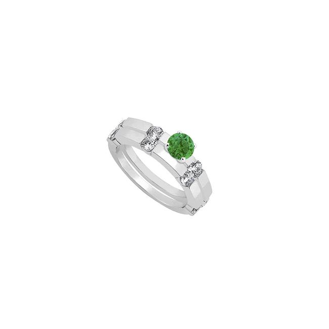 Unbranded Green Created Emerald and Cubic Zirconia Engagement with Wedding Band Ring Unbranded Green Created Emerald and Cubic Zirconia Engagement with Wedding Band Ring Image 1