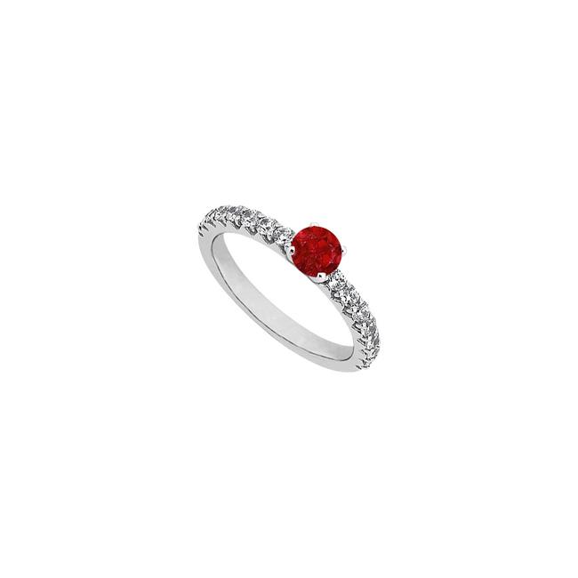 Unbranded Red July Birthstone Created Ruby Cubic Zirconia Engagement 14k White Ring Unbranded Red July Birthstone Created Ruby Cubic Zirconia Engagement 14k White Ring Image 1