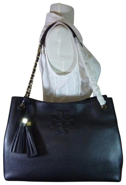 Item - Thea Chain Slouchy Black Pebbled Leather Tote