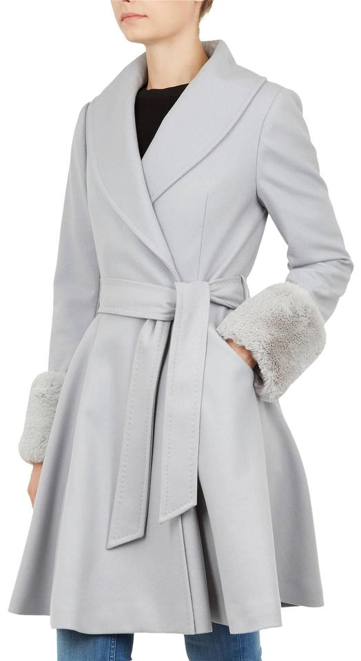 c46ede108152a9 Ted Baker Light Grey Faux Fur Zurii Skirt Coat Size 10 (M) - Tradesy