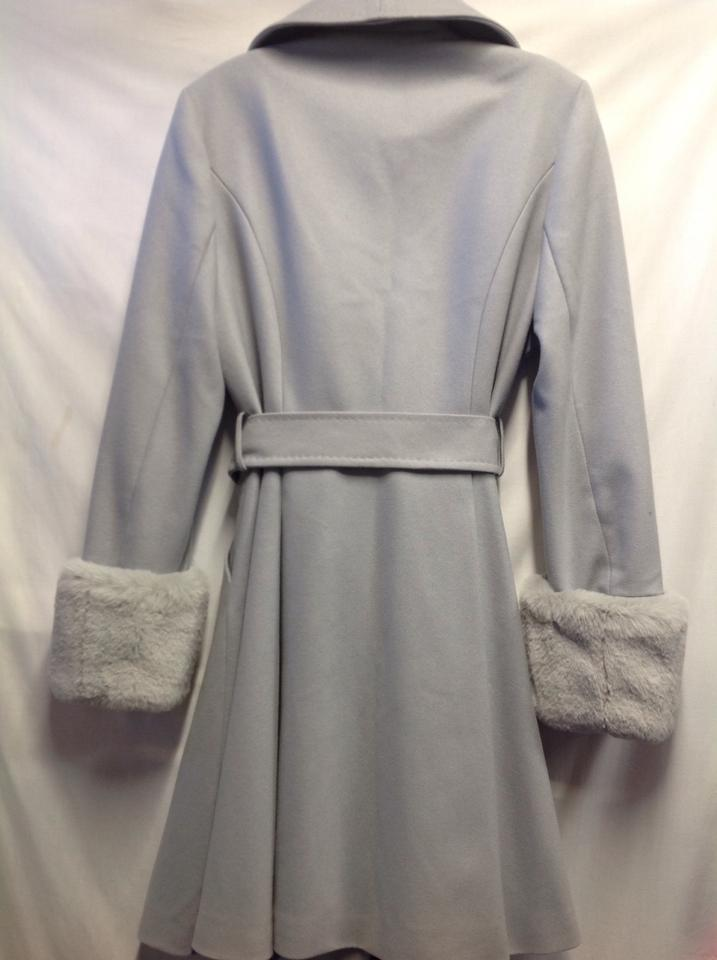 c3bc103b69d7 Ted Baker Light Grey Faux Fur Zurii Skirt Coat Size 10 (M) - Tradesy