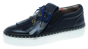 Burberry Leather Rubber Blue Flats