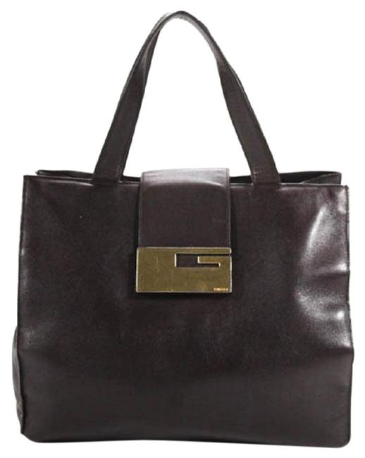 Gucci Vintage Satchel/Tote/Designer Purses Dark Brown Leather with Gold Square G Clasp Satchel Gucci Vintage Satchel/Tote/Designer Purses Dark Brown Leather with Gold Square G Clasp Satchel Image 1