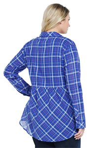 Torrid Peplum Button Down Shirt Blue & Pink Plaid