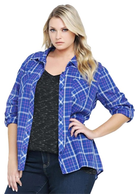Preload https://img-static.tradesy.com/item/2441758/torrid-blue-and-pink-plaid-peplum-back-shirt-2x-1820-only-worn-once-button-down-top-size-22-plus-2x-0-4-650-650.jpg
