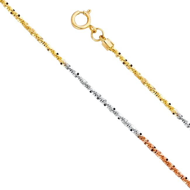 "Top Gold & Diamond Jewelry Tri Color 14k 1.1mm Glitter Chain - 18"" Necklace Top Gold & Diamond Jewelry Tri Color 14k 1.1mm Glitter Chain - 18"" Necklace Image 1"
