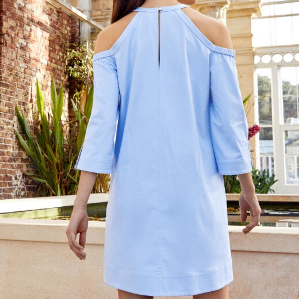 dc4a8a1f5926 Ted Baker Blue Jettas Cut Shoulder Night Out Dress Size 6 (S) - Tradesy