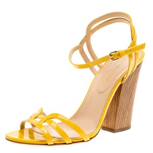 Sergio Rossi Patent Leather Ankle Strap Leather Yellow Sandals