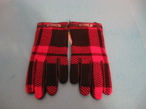 Coach NWT Coach Wool Knit & Nappa Leather Mount Plaid Driving Gloves, 7