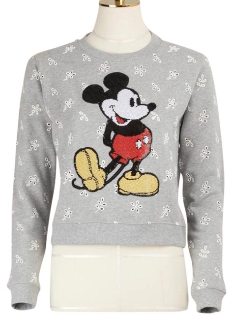 Item - Broderie Anglaise Sequined Mickey Mouse Sweatshirt Grey Sweater