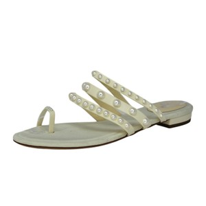 Chanel Round Toe Leather Pearl White Sandals