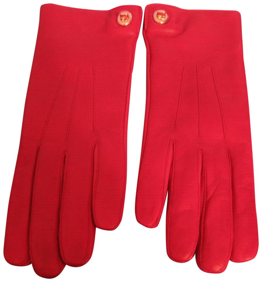 8 New-with-Tags Women/'s Coach Iconic Black Cherry Long Turn-Lock Leather Gloves