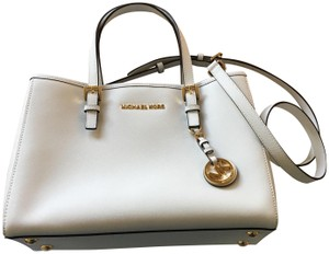 Michael Kors Travel Winter Saffiano Leather Tote in Optic White