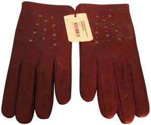 Coach NWT Coach Nappa Leather Star-Studded Burgundy Driving Gloves, 8