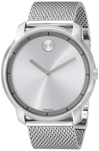 Movado Bold Silver Dial Stainless Steel 44mm 3600260 Mesh Men's Swiss Watch