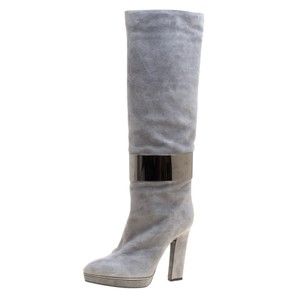 Sergio Rossi Suede Leather Grey Boots