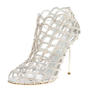 Sergio Rossi Crystal Suede Peep Toe Leather Silver Boots