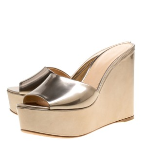 Sergio Rossi Patent Leather Wedge Gold Sandals