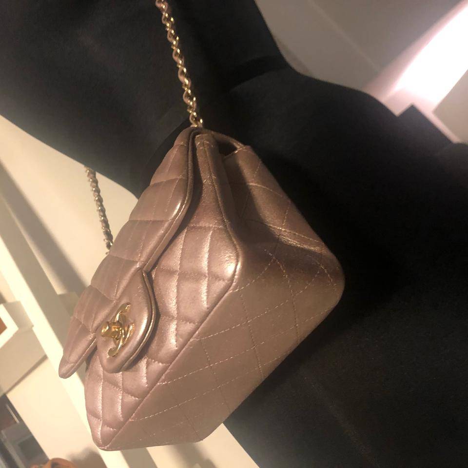 d0f9aef86a72 Chanel Metallic Quilted Square Mini Iridescent Pink Lambskin Leather ...