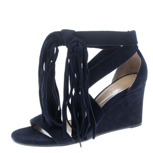 Chloé Cross Strap Wedge Leather Blue Sandals