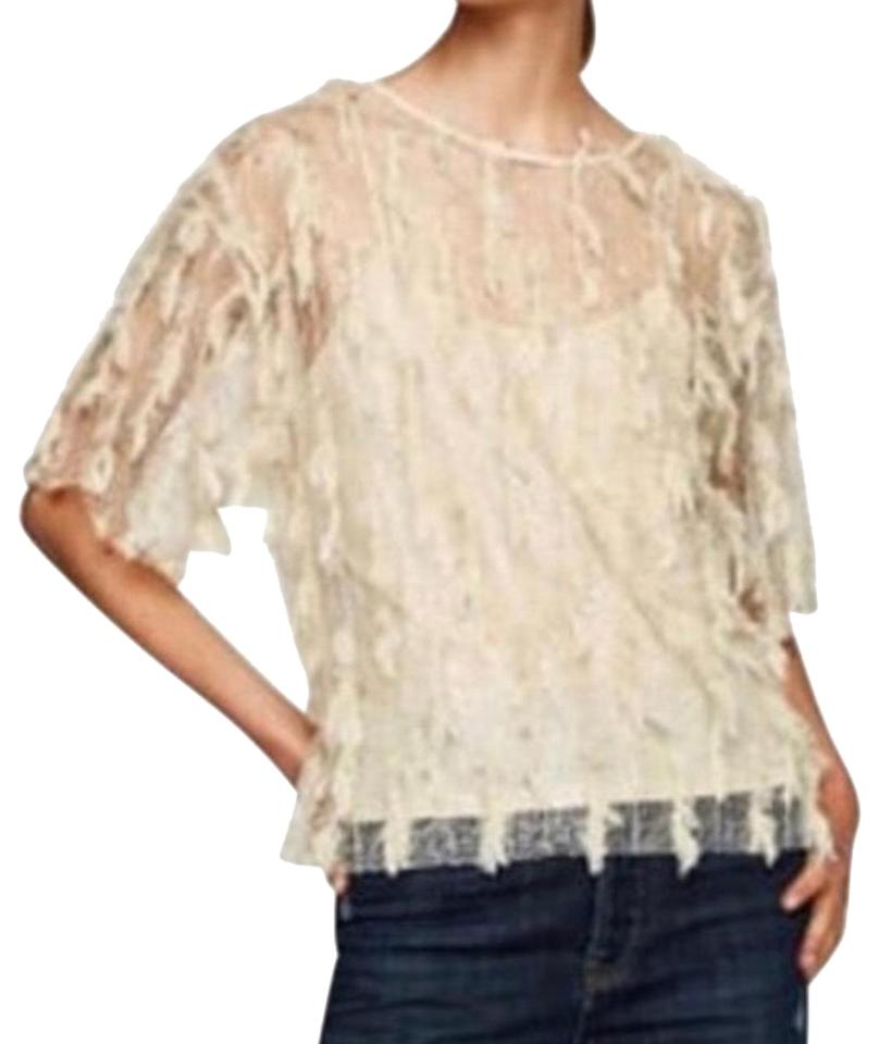0325d1805c09bc Zara Woman Lace T-shirt with Fringe Size Ivory Top - Tradesy