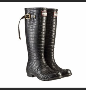 Jimmy Choo Rain Crocodile Designer Wellies black Boots