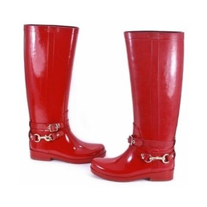 Coach Shiny Rain Wellies Buckle red Boots