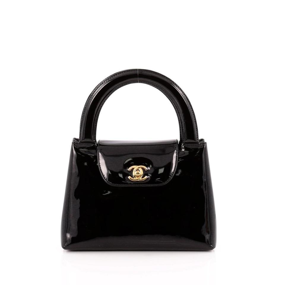 80b54317438cbc Chanel Classic Flap Evening Vintage Kelly Top Handle Black Patent ...