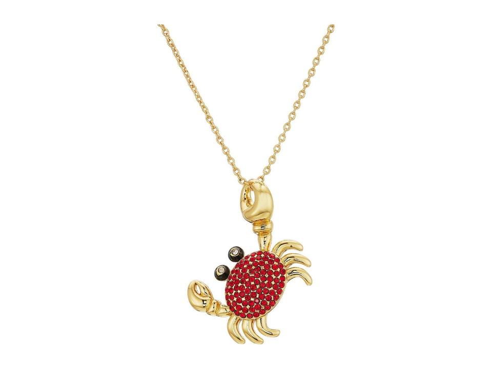 e58f80db0 Kate Spade Gold Red Shore Thing Pave Crab Pendant Necklace - Tradesy