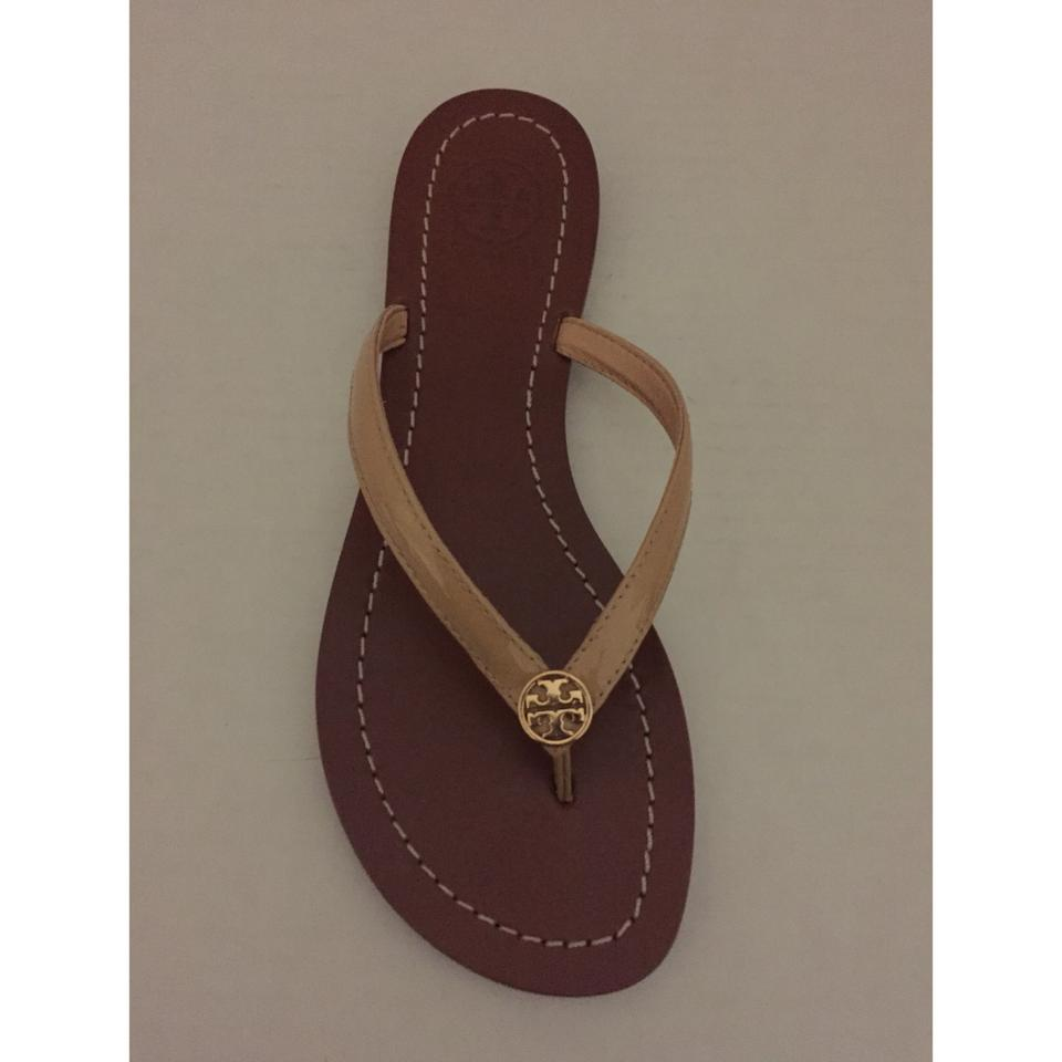 c31a2677b429 Tory Burch Beige Terra Thong Patent Leather and Tb Dust Bag Sandals Size US  5 Regular (M