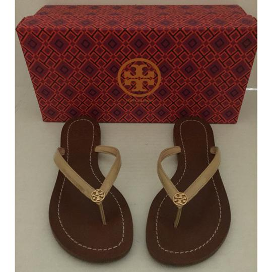 cdff8a9257d Tory Burch Beige Terra Thong Patent Leather and Tb Dust Bag Sandals ...