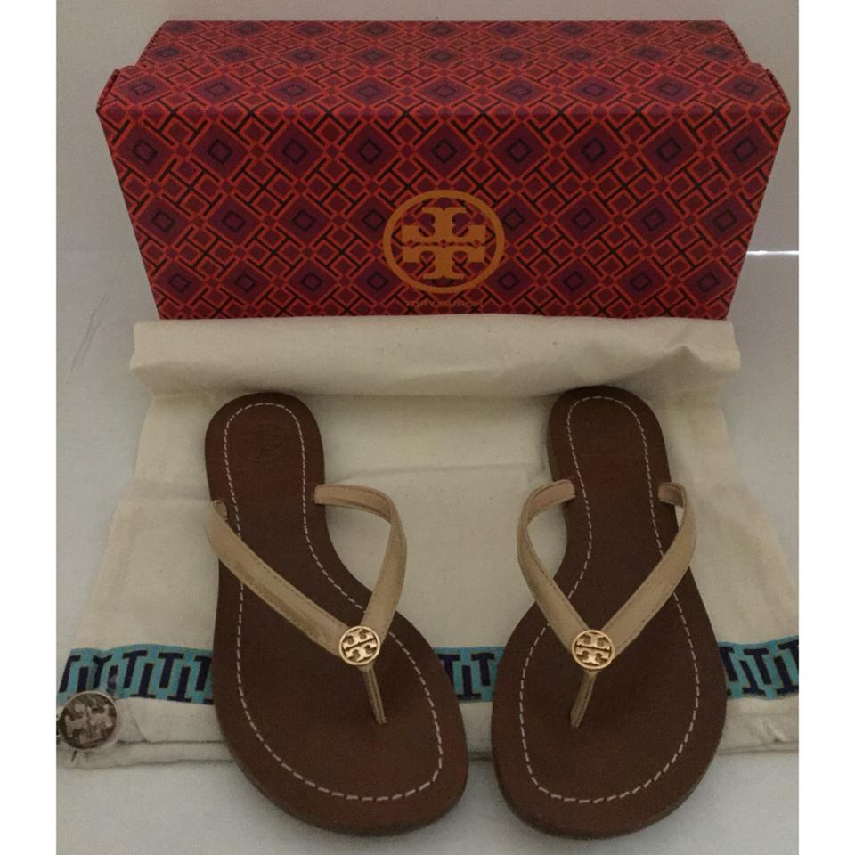 b62e1bd505af Tory Burch Beige Terra Thong Patent Leather and Tb Dust Bag Sandals Size US  5 Regular (M