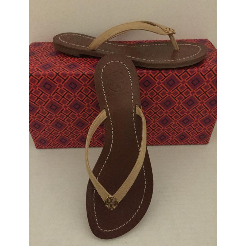 800cac3dd0c Tory Burch Beige Terra Thong Patent Leather and Tb Dust Bag Sandals Size US  5 Regular (M