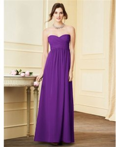 Alfred Angelo Grape Chiffon Style #7289l Formal Bridesmaid/Mob Dress Size 10 (M)
