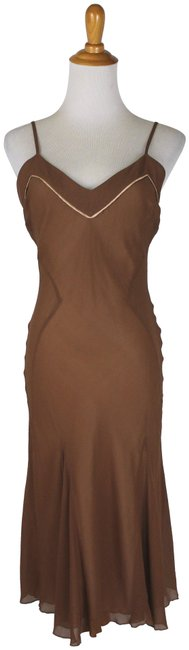 Item - Brown Vintage Cocoa Silk Chiffon Bias Cut Slip Mid-length Cocktail Dress Size 4 (S)