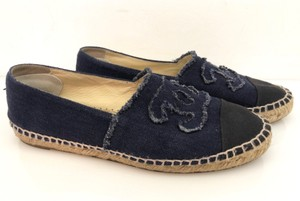 Chanel Espadrille Cap Toe Fringe Denim Blue Flats