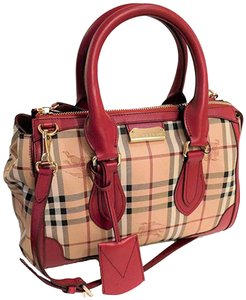 Burberry Haymarket Tote in Red