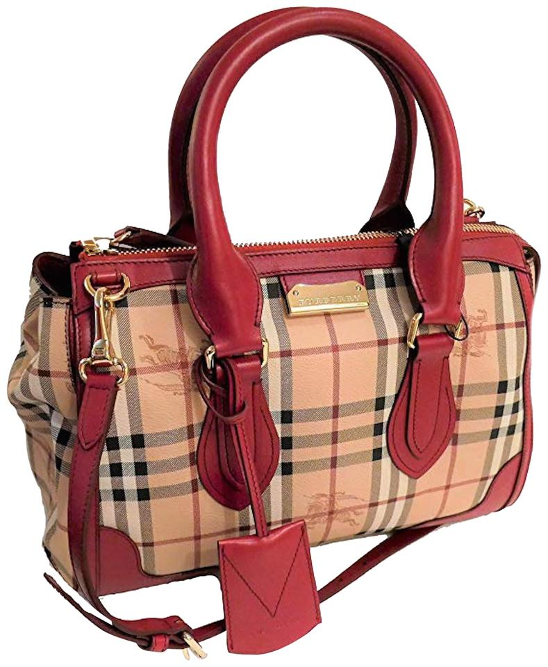 c72a0e5bb50 Burberry New Haymarket Check Gladstone Womens Red Pvc   Leather Tote ...