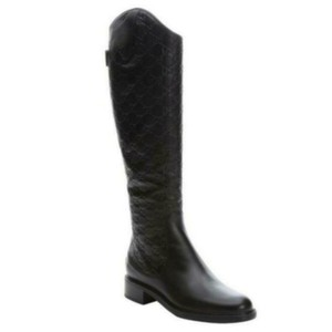 3ced15d758fa3 Gucci Black Logo Knee High Guccissimma Leather Riding Boots Booties ...