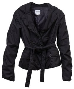 Armani Collezioni Puff Belted Large Lapel Black Jacket