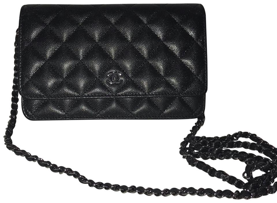 804a64c087327d Chanel Wallet on Chain Iridescent Woc Caviar Black Leather Cross ...