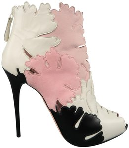 Alexander McQueen Patchwork Leather Stiletto Peep Toe Pink, White and Black Boots